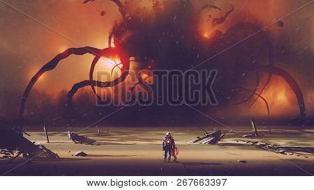Astronaut With A Tech Device Heading To The Giant Monster At The Horizon, Digital Art Style, Illustr