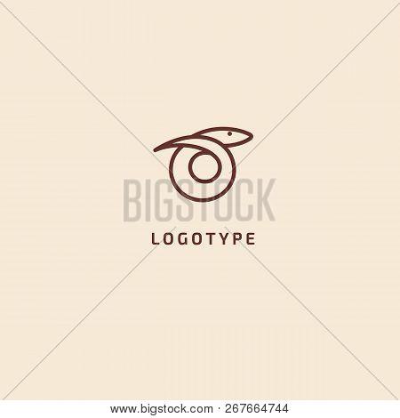 Snake Silhouette Logo. Vector Abstract Minimalistic Illustration Predator. Herpetology Icon. Terrari