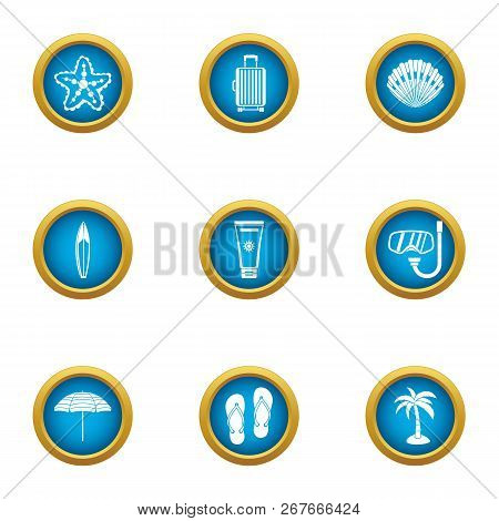 Adventure Journey Icons Set. Flat Set Of 9 Adventure Journey Icons For Web Isolated On White Backgro
