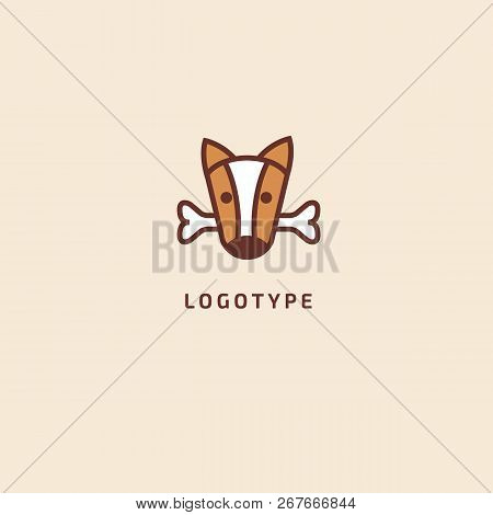 Dog Silhouette Logo. Vector Abstract Minimalistic Illustration Veterinary. Puppy Icon. Pet, Pet Shop
