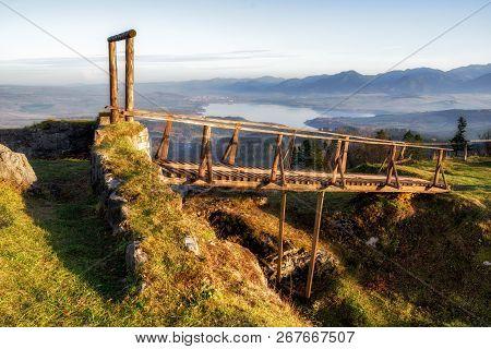 Ruins Of Liptov Castle, Slovakia. Lake Liptovska Mara And Low Tatras Mountais, Slovakia