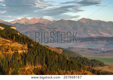 Colorful Autumn West Tatras Mountains Slovakia. Beautiful Hill Lanscape