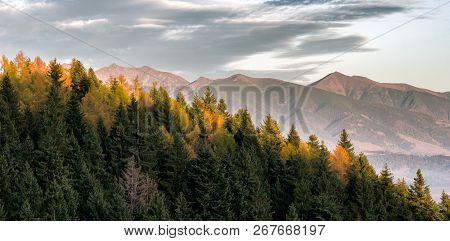 Peak Tri Kopy And Baranecc In West Tatras Mountains, Slovakia. Colorful Autumn Landscape