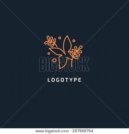 Butterfly Colorful Logo Template With Shadow On Wings. Abstract Butterfly Shape In Blue And Violet C