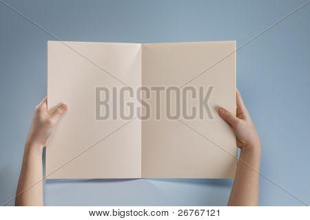 Menschliche Hand, der ein Buch hält.