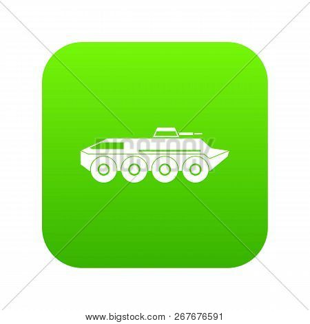 Armored Personnel Carrier Icon Digital Green For Any Design Isolated On White Illustration