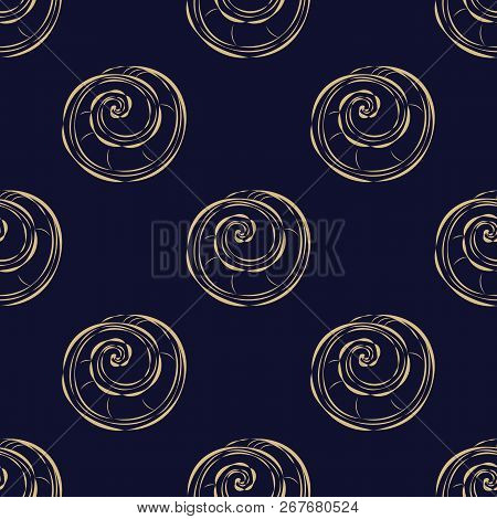 Seamless Sample Of The Repeating Gold Cockleshells Against A Dark Background. Japanese Style. A Snai