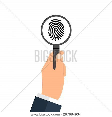 Investigation Of Thumb Prints By Magnification Loupe. Personal Identity Sign, Detective Research Con