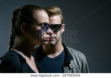 Fashion Eyewear. Friendship Day. Friendship Relations. Fashion Models In Trendy Sun Glasses. Couple