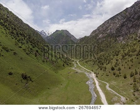 Murdash Village Alay Valley Kyrgyzstan Osh Region. A View Of Alay Valley, Trans-alay Range, And Kyzy