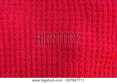 Red Fabric Texture From A Piece Of Wool