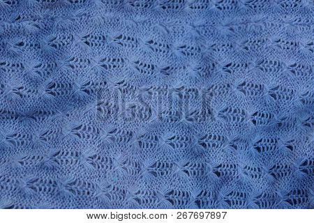 Gray Dark Background Of Crumpled Fabric On Clothes