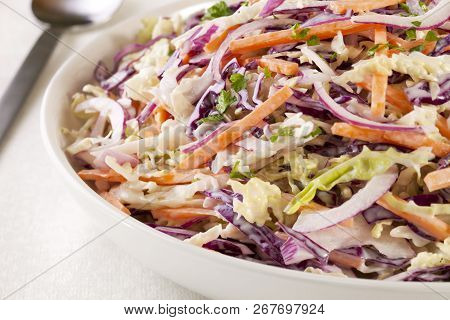 A Family Size Bowl Of Healthy Coleslaw, Made With Green And Red Cabbage, Carrot, Red Onion And A Dre