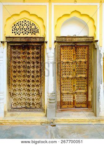Elaborate Wooden Doors To Traditional Havelis In Mandawa, Rajasthan, India