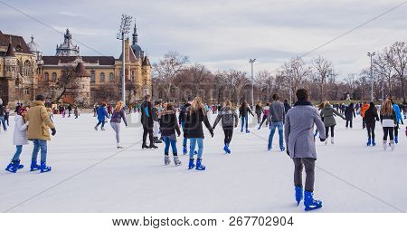 Budapest, Hungary - December 31, 2018: City Park Ice Rink On January 03, 2018 In Budapest, Hungary.