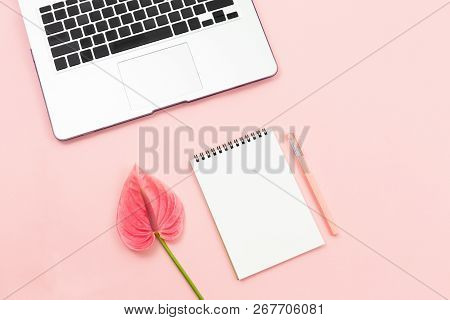 Creative Workspace Background With Anthurium Flower, Laptop, Notepad And A Pen. Perfect Feminine The
