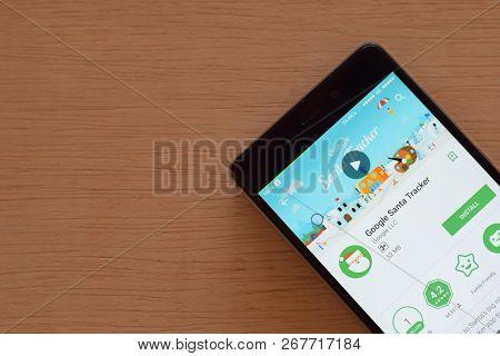Bekasi, West Java, Indonesia. November 9, 2018 : Google Santa Tracker Dev App On Smartphone Screen.