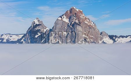The Kleiner Mythen And Grosser Mythen Summits Rising From Sea Of Fog - A Wintertime View From The Vi