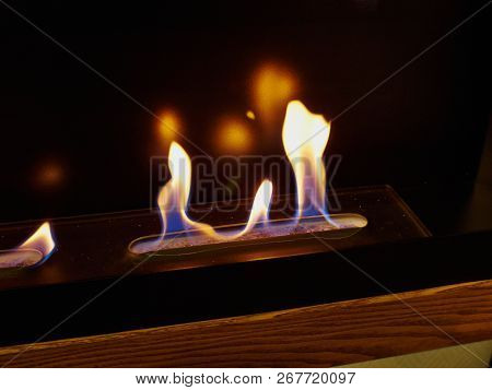 Close Details Of A Flame Of Modern Design Attractive Bio Fireplot Fireplace Fueled By Ethanol Gas