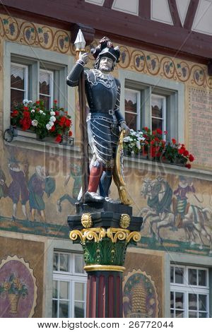 Knight fountain statue in Stein-Am-Rhein (Switzerland)