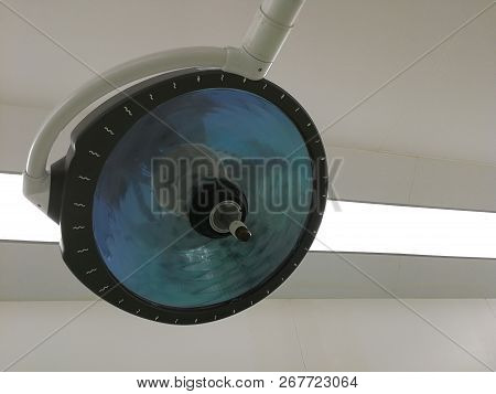 A Lamp In An Operating Room. Operating Light Or Surgical Lighthead.