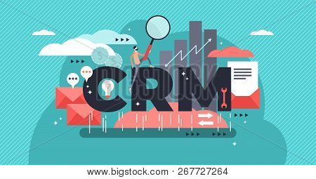 Crm Or Customer Relationship Management Flat Stylized Vector Illustration. Drawn Approach To Manage