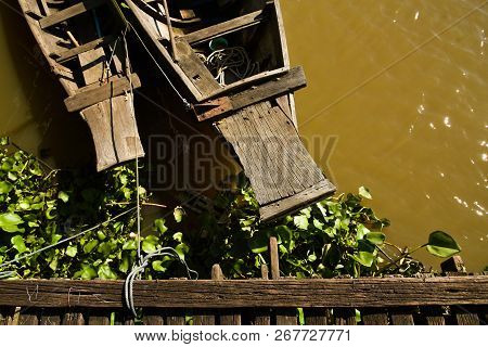 Boats Strapped At Pier, Wooden Pier Of Wooden House In Riverside Village, Asia