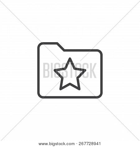 Bookmark Folder With Star Outline Icon. Linear Style Sign For Mobile Concept And Web Design. Favorit