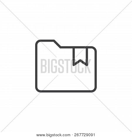 Folder With Bookmark Outline Icon. Linear Style Sign For Mobile Concept And Web Design. Bookmarked F