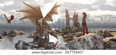 3d Fantasy Dragon Resting On The Water With Woman Or Dragon Keeper Stay On The Rock In Mythical Isla