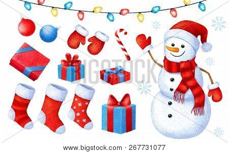 Cartoon Christmas And New Year Paint Collection. Set Of Christmas Icons. Illustration On White Backg