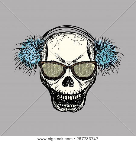 Scary Skull With Glasses And Winter Plush Furry Ear Muffs