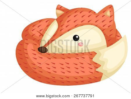 A Vector Of A Cute Fox With Pattern
