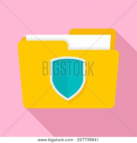 Protected Folder Icon. Flat Illustration Of Protected Folder Icon For Web Design