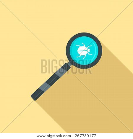 Magnify Glass Computer Virus Icon. Flat Illustration Of Magnify Glass Computer Virus Icon For Web De