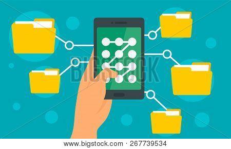 Smartphone File Folder Concept Background. Flat Illustration Of Smartphone File Folder Concept Backg