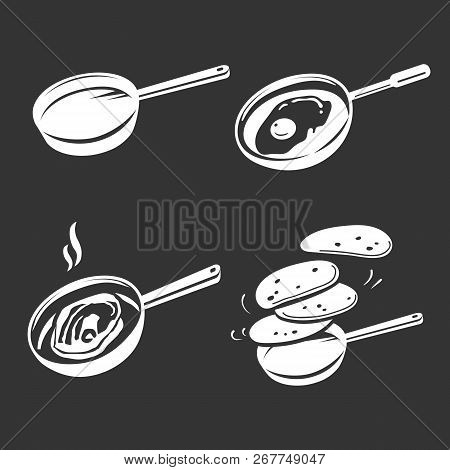 Griddle Icon Set. Simple Set Of Griddle Icons For Web Design On Gray Background
