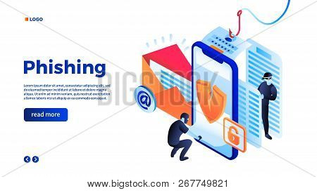 Personal Data Phishing Concept Background. Isometric Illustration Of Personal Data Phishing Concept