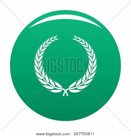 Winner Wreath Icon. Simple Illustration Of Winner Wreath Icon For Any Design Green