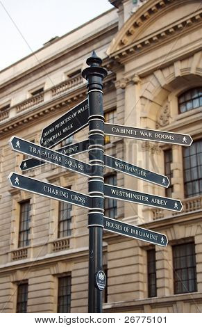 Sign showing directions to the London's landmarks