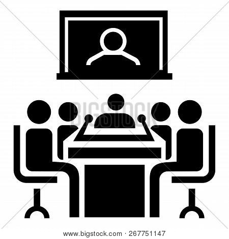Video Conference Icon. Simple Illustration Of Video Conference Icon For Web Design Isolated On White