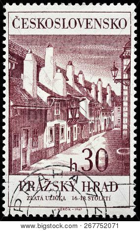 Luga, Russia - June 6, 2018: A Stamp Printed By Czechoslovakia Shows Beautiful View Of Golden Lane -