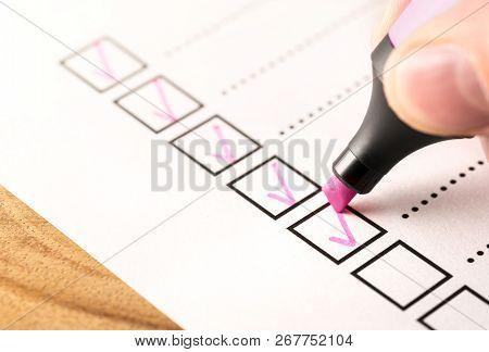 Checklist, Keeping Score Of Obligations Or Completed Tasks In Project Concept. Check List Document O