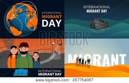 Migrant banner set. Cartoon illustration of migrant banner set for web design poster