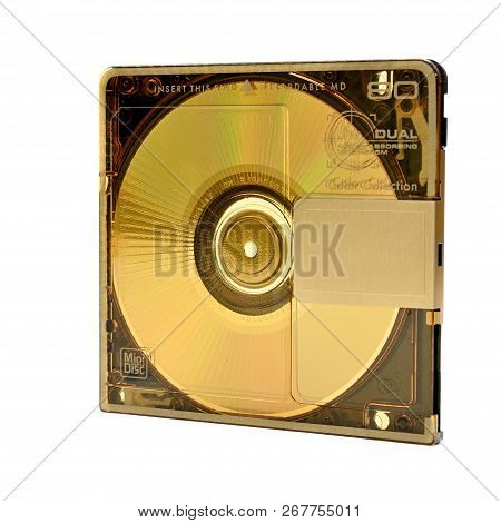Compact Rewritable Mini Disc- Md For Digital Recording Released In The 90s On An Isolated White Back