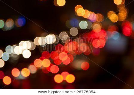Night traffic lights of the big city