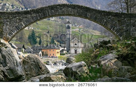 Ancient stone arch bridge in Verzasca valley, Switzerland