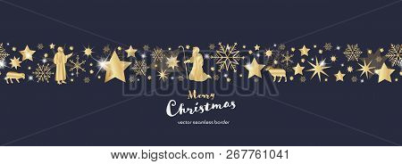 Christmas Time. Dark Blue And Golden Snowflake And Star Seamless Border With Shepherds. Text : Merry