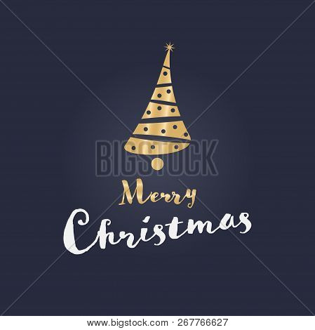 Christmas Time. Christmas Tree In Golden Colors With Reflections. Text : Merry Christmas