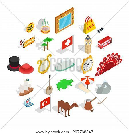 Europe Countries Icons Set. Isometric Set Of 25 Europe Countries Vector Icons For Web Isolated On Wh